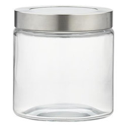 Extra Small Glass Storage Container with Stainless Steel Lid - All-purpose modern storage essentials with clean lines in view-through glass are fitted with tight-sealing stainless screwtop lids.