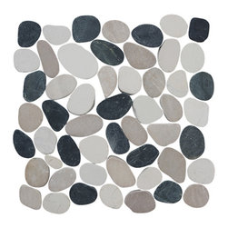 Sliced Pebble Tile, Black, White, and Tan, 12 in. X 12 in., Interlocking Pebble - Size: 12x12 in. (1/2 in thick) Approx. 1 piece/sq. ft. Sold by the piece.