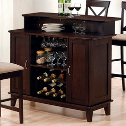"Coaster - Bar Unit in Cappuccino - The bar collection is finished in deep cappuccino with solid hardwoods and veneers.; Casual Style; Finish: Cappuccino; No assembly required.; Dimensions: 47""L x 25""W x 42""H"