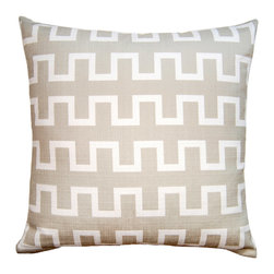 Square Feathers - Coolbreeze Maze Throw Pillow - The Coolbreeze Maze pillow lends versatile style to a modern interior. The contemporary accent's white saw tooth lines stretch across brown faux linen for an easy, geometric design. Available in several sizes; Zipper closure; Includes 90/10 feather down insert; Dry clean only; Made in the USA