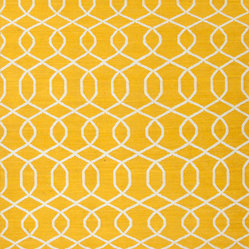 Flat Weave Geometric Pattern Gold /Yellow Wool Handmade Rug - UB13