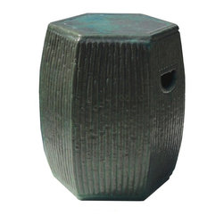 Golden Lotus - Dark Green Ceramic Clay Bamboo Hexagon Stool Ottoman - Besides being a garden stool, this kind of stool is getting popular for decorating indoor home. It is mostly use as a table base/ small coffee table, plant stand or simply as a decor item. ( please understand there is a variation in the finish for the hand glazed item ) ( touch up marks from manufactory , please see photos for details )