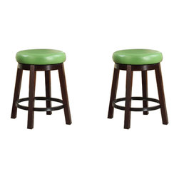 Furnituremaxx - Wooden Swivel Barstools, Counter Height, Lime Green, Set of 2 - Add style to any room with this Fun Color Wood Swivel Bar Stool, featuring a large round leather seat in 4 fun colors. With the espresso wood accent, it matches well with many of today's game rooms and kitchens. Available in bar and counter heights with a full 360-degree swivel seat and footrail for added comfort. Dimensions: 20W x 20D x 30H Inch, seat cushion 15in. round. Some assembly required.