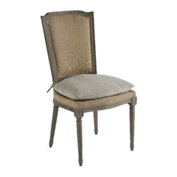 """Aidan Gray - Ethan Chair with Slipcover by Aidan Gray - Casual elegance is depicted by Aidan Gray with the Ethan Chair with Slipcover. Durable burlap fabric covers the base and backrest. A loose, under stuffed cushion on the seat is covered with stone washed hemp. A solt white tumbled wash slipcover is for the back. Mix it up, the natural tones of this chair make it a versatile choice for many wood choices. (AG) 38.5"""" High x 21"""" Wide x 21"""" Deep"""