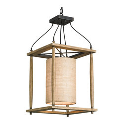 Kathy Kuo Home - Natural Ash Rustic Lodge Pendant Lantern - This eclectic wood and iron lantern combines a simple wood frame with a precisely wrought iron frame.  The natural linen cylindrical shade adds an extra dose of organic warmth.  Rustic, somewhat whimsical and casting an inviting light, this is a great piece for country homes, lodges and any space where the relationship between natural wood and wrought iron is highlighted.