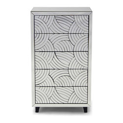 Zuri Furniture - Sicis Mirrored Finish 5-drawer Chest - The Sicis modern chest adds Hollywood Regency style and flare to your bedroom. Sicis is a creative blend of curved mirrored pieces and elegant design. The high end quality of this collection are most evident in the fine details. Features five spacious drawers. Complete the collection with the Sicis modern nightstand.