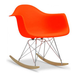 Molded Plastic Rocker, Orange - Glide.rock.sing or sack out. How many gliders have you seen in friend's room. This high-quality reproduction of rocking chair (also called cradle chair) is something that can be with your family for years to come, perfectly suited to any room of your home. The oringinal rocker is make of fiberglass and steel, but this modern rocker is crafted with recycled polyprolene shell over a very supportive chromed steel base support. This molded shell has a deep seat pocket, integrated armrests and a high backrest. The waterfall seat edge promotes comfortable seating for extended periods of time by reducing pressure on the backs of thighs.