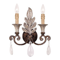 Savoy House - St. Laurence - Dripping in romantic embellishments, this noble wall sconce features dual candlestick-inspired fixtures and a distinct leaf accent. You also get dangling crystal droplets to complete the dramatic presentation.