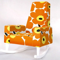 ducduc Collins Rocker in UNIKKO by Marimekko - I cannot think of a better combination than this modern rocker with a bright, bold, orange hue in the classic Marimekko UNIKKO print. It's an eye-popper and it will make you smile, even if it's time for that 4 a.m. feeding!