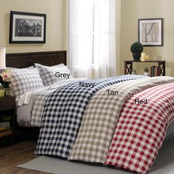 None - Harvard 300 Thread Count 3-piece Print Duvet Cover Set - This duvet cover set features a luxurious feel with a soft and comfortable 300 thread count. Available in three different colors,the vibrant gingham check pattern adorns the front with the reverse in a similar,but tighter pattern.