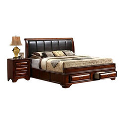 "Asia Direct - 5-Piece Boss Brown Cherry Finish Headboard Platform Queen Bedroom Set - 5-piece Boss brown cherry wood finish with espresso cushion headboard platform queen bedroom set. This luxurious and stylish queen bedroom set comes with 2 storage drawers at the foot of the bed with pull handles. This bed set contains: (1) queen bed measures: 65""W x 93""L x 54""H, (1) Dresser measures: 68.68""W x 17.24""D x 43.76""H, (1) Mirror measures: 45.2""W x 33.32""H, (1) Chest measures: 37.12""W x 17.24""D x 52.8"", (1) Night stand measures: 24.28""W x 17.24""D x 28.88""H. Optional pieces are available at an additional cost. Some assembly may be required."