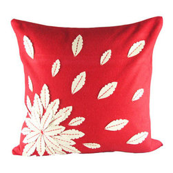 Design Accents - Red and Ivory Felt Applique Flower 20 x 20 Decorative Pillow - - Stylish and fun pillow with felt applique.  - Cover Material: Felt pillow cover  - Fill Material : Down feather insert  - Cleaning/Care: Dry Clean Only  - Fabric Material: Felt Design Accents - SL 28884 Applique Flower Red