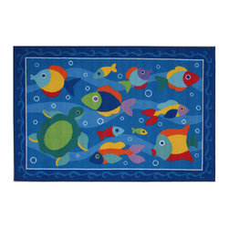 """Fun Rugs - Somethin' Fishy Olive Kids Collection Rug - 39"""" x 58"""" - This colorful rug has somethin' fishy design Collection Name: Olive Kids; 100% Nylon Dimensions: 39"""" x 58"""""""