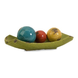"""IMAX - Mercade Decorative Ceramic Balls in Tray - Set of 4 - A vibrant multicolored arrangement of 3 decorative balls displayed in a lime green tray.  Item Dimensions: (3.25-4.5""""h x 3.25-5.75""""w x 3.25-16.5"""")"""