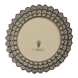 "L'Objet - L'Objet Deco Noir 4"" Round Frame Oxidized Platinum w/ Swarovski Crystals - L'Objet is best known for using ancient design techniques to create timeless, yetdecidedly modern serveware, dishes, home decor and gifts. Oxidized Platinum Plated Photo Frame Beveled Glass Wrapped in Genuine Leather , 4'' Round Photo Size Luxuriously Gift Boxed Each frame is meticulously handcrafted and detailed with beveled glass, satin liner, leather back, and decorative closures."