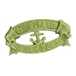"""Handcrafted Model Ships - Antique Solid Brass Mermaid's Quarters Sign 8"""" - Brass Nautical Sign - Ideal for posting in a boat, boathouse or any room featuring a nautical decor theme, this brilliant antique brass sign clearly informs everyone what room it identifies. With a -Textured background and polished framing, this distinctive sign will be perfectly at home on you boat, or make you feel like you're on your boat when at home or the office."""