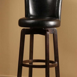 Hillsdale Furniture - Swivel Stool - Black Vinyl (30 in. Bar Height - Choose Size: 30 in. Bar HeightSolid hardwood.360 degree swivelChoice of black or brown vinyl seat.. 18 in. W x 19 in. D x 39 in. H (18 lbs.)The Copenhagen Stool is a comfortable classic. Made of solid hardwood with an espresso finish, the Copenhagen boasts an elegantly arched back and a 360 degree swivel seat covered in your choice of a black or brown vinyl.