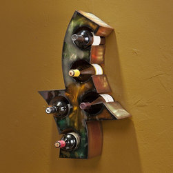 Wildon Home � - Saragossa 5 Bottle Wall Mounted Wine Rack - This artistic wine rack is both functional and beautiful. Your favorite wines can be artfully displayed within the complimentary earth tones. This wonderful piece is sure to be a welcome addition to your home. Features: -Holds up to five bottles of wine.-Wall-mounted.-Easy as hanging a picture.-Made in USA.-Metal construction.-Multicolored in earth tones.-Handcrafted touch of artisan skill creates variations in color and design.-Color discrepancies may occur between this product and your computer screen.-Distressed: No.-Country of Manufacture: United States.Dimensions: -Overall Product Weight: 7 lbs.Warranty: -Manufacturer provides 1 year warranty.
