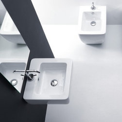 "WS Bath Collections - Ego 19.7"" x 15.7"" Wall/Counter Ceramic Sink - Ego by WS Bath Collections Bathroom Sink 19.7 x 15.7, Wall Hung or Counter Top Installation in Ceramic White, With One Faucet Hole Centered In Ceramic White, Made in Italy"