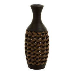 Benzara - 24in. Flower Vase In Stylish Wicker Woven Pattern - A unique and attractive flower vase woven into a sturdy wicker style pattern. This beautifully made vase is made into a solid and sturdy shape with polyethylene material. Create a lovely contrast to the dark wicker color with a bright bouquet of flowers. Or even create unique spot for your favorite umbrella by the front door.