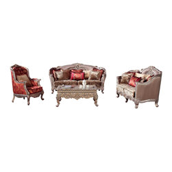 Homey Designs - European Victorian Taupe Fabric Upholstery Decorative Living Room Sofa Set - The HD 1880 is an elegant and luxurious Taupe Living Room Sofa Set. This Victorian European style sofa set is a perfect example of craftsmanship. The decorative wood trims is stunning while the rich fabric upholstery is nothing but exceptional. Fall in love with the decorative fringe accent pillows. The multi pattern cushion seating continues to add to the appeal of this Victorian sofa set. The red accent arm chair is a perfect contrast to the HD 1880 collection.