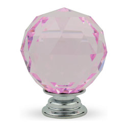 """Knob Lovers - Aurora 1.5"""" Knob - Add the right lighting to your room and watch this Aurora knob sparkle. This exquisite clear pink cut crystal knob is set upon a silver mount."""