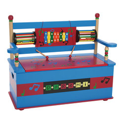 Levels of Discovery - Musical Bench Seat with Storage - Entertaining backrest combines an eight-note xylophone with 2 wooden mallets and 2 spinning bell drums Plenty of storage for all of the band instruments (or other stuff) Slow-closing metal safety hinge Eight-note xylophone. 2 wooden mallets. 2 spinning bell drums. Slow-closing metal safety hinge. All products have instructions included for assembly