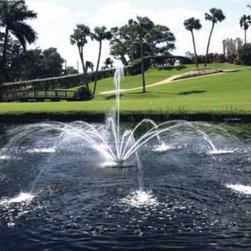 "Custom Water Features - The Aqua Controls Inc. Evolution Fountain with the ""Arum"" fountainhead."