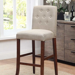"Kinfine - 29"" Tan Barstool - Update your dining area with this stunning parson barstool. This stunning stool has a curved arch back with a cordovan textured fabric. The comfortable seat has a tan color that will give your home an amazing decor."