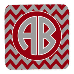 Caroline's Treasures - Chevron for Alabama Personalized Initial Foam Coasters, Set of 4 - Foam Coaster - 3 1/2 inches by 3 1/2 inches. Permanently dyed and fade resistant. Great to keep water from your beverage off your table and add a bit of flair to a gatering.  Match with one of the insulated coolers or huggers for a nice gift pack.  Wash the coaster in the top of your dishwasher.  Design will not come off.  Made from our mouse pad material and is heat resistant.