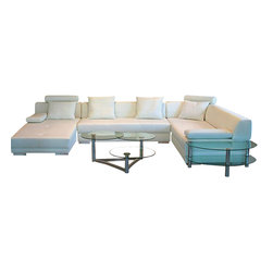 VIG Furniture - 3334 White Bonded Leather Sectional Sofa - The 3334 sectional sofa will be a great addition to any living room decor that need's a touch of modern design. This sectional comes upholstered in a beautiful white bonded leather in the front where your body touches. Carefully chosen vinyl match material is used on the back and sides where contact is minimal. High density foam is placed within the cushions for that extra added comfort. Attached to the bottom are stainless steel legs with a brushed finish.