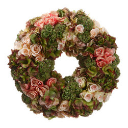 """Silk Plants Direct - Silk Plants Direct Rose, Hydrangea and Sedum Wreath (Pack of 1)"""" - Silk Plants Direct specializes in manufacturing, design and supply of the most life-like, premium quality artificial plants, trees, flowers, arrangements, topiaries and containers for home, office and commercial use. Our Rose, Hydrangea and Sedum Wreath includes the following:"""