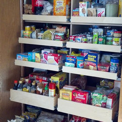 Pantry Pull Out Shelves - Keep your pantry organized with custom pull out pantry shelves from ShelfGenie of Los Angeles.  This pantry features three rows of single-height shelves on top of two rows of double-height shelves.