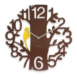 Present Time, Inc. - Present Time Karlsson 16-Inch Woodpecker Wall Clock - This adorable woodpecker wall clock is perfect for bird watchers and nature lovers. Featuring a woodpecker who pecks at the tree trunk in time with the second hand, this clock is both unique and fun.