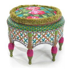Greenhouse Outdoor Round Ottoman | MacKenzie-Childs - The ottoman comes with a reversible cushion: one side with a rose-on-lattice pattern, and a graphic plaid on the other. Featuring solid iron construction, intricately hand-woven in classic garden shades of teal, green, pink, white, and orange. Classic in shape, and extremely functional and versatile.