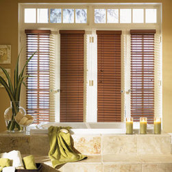 "Bali 2"" Faux Wood Blinds - 2"" Faux Wood blinds are made with moisture-proof PVC so slats are easy to clean and will not warp in high-humidity areas. Available in light and dark solid colors. Embossed slats add a unique sense of texture and the light-blocking headrail provides greater light control."