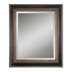 Uttermost - Fabiano Black Wood Mirror - Black, gold and beveled — a striking yet simple statement for your decor. This mirror sits in a handsome two-tone wood frame to accent and open up your traditional or transitional setting.