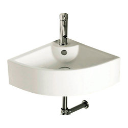 Caracalla - Corner White Ceramic Wall Mounted or Vessel Bathroom Sink - Contemporary style, wall mounted or vessel white ceramic corner sink.  Beautiful wall mounted or above counter washbasin comes with overflow and one hole.  Made in Italy by Caracalla. Made out of white ceramic. Contemporary design. With overflow. ADA compliant. Standard drain size of 1.25 inches. Because the sink has multiple installations, the back side is not glazed.