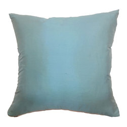"""The Pillow Collection - Agnieska Plain Pillow Turquoise - Fall in love with this gorgeous turquoise silk throw pillow. This accent pillow features a lovely glowing effect which adds luster to your space. This decor pillow is plush and made from 100% silk fabric. You can add a beautiful finish to your space by combining this square pillow with patterns like florals, ikats, stripes and geometric.This 18"""" pillow suits many decor styles and settings. Hidden zipper closure for easy cover removal.  Knife edge finish on all four sides.  Reversible pillow with the same fabric on the back side.  Spot cleaning suggested."""