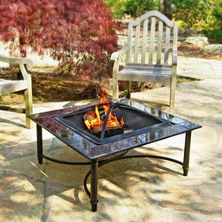 "Corral - Marble Fire Pit Table - Features: -Marble fire pit table.-34"" Black marble tile surround.-23"" Steel fire bowl.-Furniture style stand design.-Includes: log grate, lifting tool and storage cover.-Steel construction with hi-temp finish.-Under Table Storage Space: No.-Firepit Convertible Cover: No.-Distressed: No.Dimensions: -18.5"" H x 34"" W x 34"" D.-Overall Product Weight: 43 lbs."