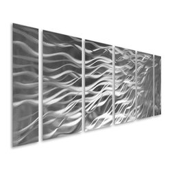 Pure Art - Beyond Forever Abstract Six-Panel Aluminum Wall Artwork - This metal wall hanging has timeless appeal! The Beyond Forever Abstract Six Panel Aluminum Wall Artwork features six individual panels that are handcrafted and hand-painted for a look that is eye-catchingly beautiful.  This aluminum wall art hanging is sized just right to make a huge impact visually on your wall space with its abstract depiction of fibrous bands that seem to emanate from one corner of the artwork and out across all panels.  A svelte monochrome color scheme adds to the dramatic appeal of this exciting metal wall hanging that is ideal for display in home or office decor settingsMade with top grade aluminum material and handcrafted with the use of special colors, it is a very appealing piece that sticks out with its genuine glow. Easy to hang and clean.