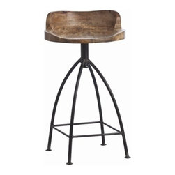 Henson Counter Stool by Arteriors Home - The Henson Counter Stool showcases a natural iron base accented by a wooden swivel seat that has been sandblasted with an antique wax finish.