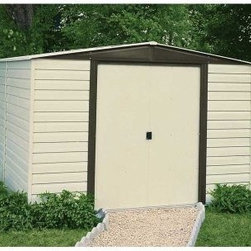 Arrow Vinyl Dallas 10 x 8 ft. Shed - Turn your home and garden into a shining star in your neighborhood, with the Arrow Vinyl Dallas 10 x 8 ft. Shed. A well-kept lawn and garden is no easy trick and requires both hard work and lots of equipment. When the work is done, though, hiding your tools in this attractive shed makes your results look effortless. And with all the implements you can fit in this shed, you'll be able to free your basement, yard, and garage of all manner of clutter. The beautifully paired almond and coffee color combination adds a rustic touch that compliments any exterior design or landscaping. And the low gable of the reinforced steel roof both avoids rainwater pooling up top and affords you plenty of head room when grabbing your implements. With easy-sliding doors that can be padlocked, this shed keeps your items safe and sound. Made in the United States, this shed is constructed with vinyl-coated electro-galvanized steel, making it five times thicker and stronger than standard steel buildings. With numbered and predrilled parts, this shed can be assembled quickly and easily as a weekend project with basic DIY skills.Additional Features:Exterior Dimensions: 123.25W x 95.25D x 82.13H inchesInterior Dimensions: 118.25W x 90D x 80.88H inchesDoor Dimensions: 55.5W x 69.25H inchesAbout Arrow ShedsEstablished in 1962 as Arrow Group Industries, Arrow Sheds is now the worldwide leader in designing, manufacturing, and distributing steel storage sheds that are easily assembled from a kit. Arrow Sheds hasn't garnered its 12 million customers by resting on its laurels either. The company takes great pride in having listened to their customers over the years to develop quality products that meet people's storage needs. From athletic equipment to holiday decorations, from tools to recreational vehicles, Arrow Sheds prides itself on providing quality USA-built structures that offer storage solutions. Available in a wide variety of sizes, models, finishes, and colors - Arrow's sheds are constructed with electro-galvanized steel to be more affordable, durable, attractive, and easy to assemble.