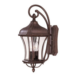 Savoy House - Savoy House Realto Outdoor Wall Mount Light Fixture in Walnut - Shown in picture: A strong Trisyn composite forms the foundation for a Walnut Patina finish with clear beveled glass. This flawless style offers an unparalleled value.