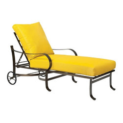 Woodard - Woodard Cascade Adjustable Chaise Lounge Multicolor - 2W0070 - Shop for Chaise Lounges from Hayneedle.com! The Woodard Cascade Adjustable Chaise Lounge awakens your inner sun goddess. Geometric lattice design antique-style wheels and sweeping curves will be the highlight of your outdoor living space. It's a breeze to roll it into the sun adjust it to the perfect setting and relax. The strong frame is hand-formed using solid wrought-iron stock and finished with an all-weather powder-coat finish for years of enjoyment. You'll have to re-apply your sunscreen because the comfortable overstuffed cushions will make you want to stay outside all day.When it comes to the look of your outdoor living space the choice is yours. Whether you're looking for neutral traditional fabric colors and finishes to beautify your sunroom or patio or bright snappy color combinations this chaise lounge has your style made in the shade. Choose from an array of finishes and fabrics to suit your style. For special assistance call our Woodard product specialists at Call 866-579-5183.Woodard: Hand-crafted to Withstand the Test of TimeFor over 140 years Woodard craftsmen have designed and manufactured products loyal to the timeless art of quality furniture construction. Using the age-old art of hand-forming and the latest in high-tech manufacturing Woodard remains committed to creating products that will provide years of enjoyment.Superior Materials for Lasting DurabilityEach piece in the Classics Collection is hand-formed using solid wrought iron stock: the heaviest available. The technique used to create Woodard wrought iron furniture has been handed down from generation to generation. To this day expert workers use anvils and hammers to forge intricate detail in the iron.In the Aluminum Collections Woodard's trademark for excellence begins with a core of seamless virgin aluminum: the heaviest purest and strongest available. The wall thickness of Woodard frames surpasses the industry's 