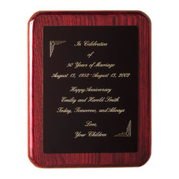 """Howard Miller - Dark Cherry Wall Plaque - Stand Included - There's no better gift than this for an executive on a wedding anniversary, holiday, or just to show how much you care. This plaque is finished in a Rosewood Hall color, with solid hardwood and select veneer construction. It includes a stand, so it can be easily displayed. * Plaque features high-gloss finish with rounded edge, and comes with brass dowels for optional tabletop display. . Engraved plate not included. . Finished in Rosewood Hall on select hardwoods and veneers. . H. 10"""" (25 cm) . W. 8"""" (20 cm). D. 1"""" (3 cm)"""