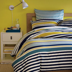 GALLERY STRIPE DUVET COVER + SHAMS - STONE WHITE/MIDNIGHT -