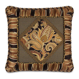 Frontgate - Langdon Diamond Collage Pillow - From Eastern Accents. Dry clean only recommended. Because this bedding is specially made to order, please allow 4-6 weeks for delivery.. The Langdon Bedding Collection brings dramatic flair to any room. Classic fabrics in paisleys and stripes combine with a striking leopard print, resulting in a palatial, stunning collection. Accessories are embellished with cord, gimp, and brush fringe. Langdon's deep, warm tones of onyx, gold, and burgundy will dress your home in magnificent elegance.  .  . . Made in USA of imported goods. Part of the Langdon Bedding Collection.