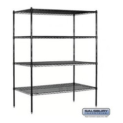 Salsbury Industries - Wire Shelving - Stationary - 60 Inches Wide - 74 Inches High - 24 Inches Deep - - Wire Shelving - Stationary - 60 Inches Wide - 74 Inches High - 24 Inches Deep - Black