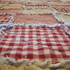 Rag Quilt Throw Size, Red Homespun Country Primitive By Kristin's Country Home - Nothing says rustic like a handmade quilt. This one comes in a variety of sizes, from throw to king.